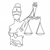 Themis Statue Holding Scales Balance Continuous One Line Vector Drawing. Symbol Of Justice, Law And  poster