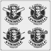 Cricket, Baseball, Lacrosse And Hockey Logos And Labels. Sport Club Emblems With Vikings. Print Desi poster