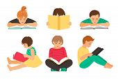 Cartoon Reading Kids. Teens Students With Books Isolated On White Background, Pupils Or Schoolchildr poster