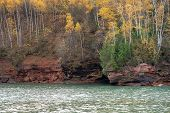 Stunning Fall Color Scenery On The Apostle Islands National Lakeshore On Lake Superior In Wisconsin  poster