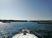 View From A Bow Of Yacht At Seaward. Beautiful View From A Bow Of Yacht At Seaward.copy Space poster