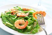 Salt and pepper shrimp with snow peas
