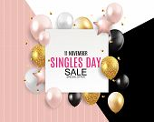 November 11 Singles Day Sale Abstract Background.. Vector Illustration poster