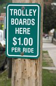 Trolley Boards Here Sign