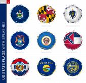 Us State Flag Collection, Round Grunge Flag With Splashes. 9 Vector Flags: Maine, Maryland, Massachu poster