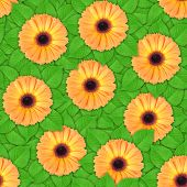 Seamless Pattern Of Orange Flowers And Leaf