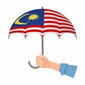 Malaysia Flag Umbrella. Weather Symbols. National Flag Of Malaysia Illustration poster