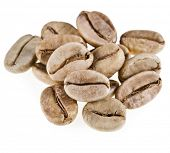 green unroasted coffee beans isolated