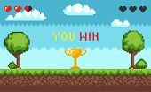 Computer Pixel Game Interface, Text You Win Over Golden Trophy Goblet. Arcade Game World And Pixel S poster