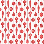 Christmas Red Seamless Pattern With Balls And Icicles For Holiday Celebrations Scandinavian Nordic S poster