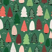 Christmas Trees Vector Background. Seamless Pattern Hand Drawn Doodle Trees. Decorative Holiday Back poster
