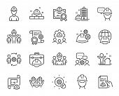 Engineering Line Icons. Teamwork, People And Technical Documentation. Blueprint With Gear, Engineer  poster