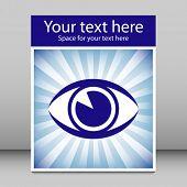 Diseño de folleto sunburst de llamativo ojo con el espacio de la copia.