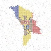Map Of Moldova. Mosaic Style Map With Flag Of Moldova. Vector Illustration. poster