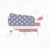 Map Of Usa. Mosaic Style Map With Flag Of Usa. Vector Illustration. poster