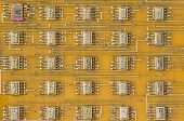 Electronic Components On The Board. Old Soviet Electronic Components (chips) On Electronic Board poster
