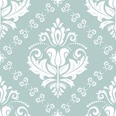Classic Seamless Pattern. Damask Light Blue And White Orient Ornament. Classic Vintage Background. O poster