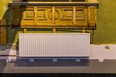 White House Radiator In A Old Home, Typical Indoor Heating Equipment, Old Indoor Architecture poster
