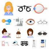 Isolated Object Of Vision And Clinic Logo. Collection Of Vision And Ophthalmology Vector Icon For St poster