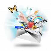 image of pop up book  - A letter or email is opening up with many object popping out such as a butterfly and book - JPG