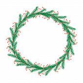 Cute Christmas Wreath With Colorful Twigs, Branches And Berries. Bright Round Hand Drawn Illustratio poster