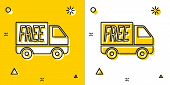Black Free Delivery Service Icon Isolated On Yellow And White Background. Free Shipping. 24 Hour And poster
