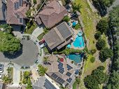 Aerial Top View Suburban Neighborhood With Big Villas Next To Each Other In San Diego, California, U poster