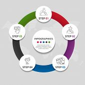 Vector Flat Template Circle Infographics. Business Concept With 5 Circles. Five Steps For Content, F poster