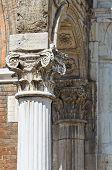 Marble column. City Hall. Ferrara. Emilia-Romagna. Italy.
