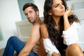 People, Relationship Difficulties, Conflict Concept - Unhappy Couple Having Problems At Bedroom poster