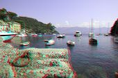 Yachts and boats in bay of Portofino on Ligurian sea, Italy (anaglyph stereoscopic image. Need Red C