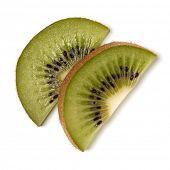 Two kiwi fruit slices isolated over white background closeup. Half of kiwi slice. Kiwifruit slice,   poster