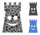 Glad Fort Tower Mosaic Of Round Dots In Various Sizes And Shades, Based On Glad Fort Tower Icon. Vec poster