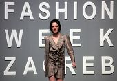 ZAGREB, CROATIA - MAY 11: Fashion model wears clothes made by Natalija Smogur on