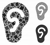 Ear Mosaic Of Irregular Parts In Various Sizes And Color Tints, Based On Ear Icon. Vector Irregular  poster