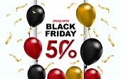 Celebration Balloon Sales Black Friday On A White Background. Balloons Black Friday. Red Balloons Wi poster