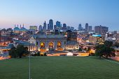stock photo of fountain grass  - Image of the Kansas City skyline at twilight - JPG