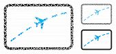 Plane Route Mosaic Of Ragged Items In Different Sizes And Shades, Based On Plane Route Icon. Vector  poster