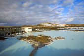 stock photo of steamy  - The Blue Lagoon on a sunny day in Iceland - JPG