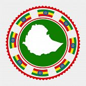 Ethiopia Flat Stamp. Round Logo With Map And Flag Of Ethiopia. Vector Illustration. poster