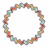 Orange, Yellow, Turquoise And Brown Colored Vector Pattern Consisting Of Circular Sharp Lines. Round poster