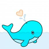 Vector cute baby whale cartoon character swimming in the big ocean with tail lifted up above the wat