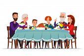 Big Family Dinner Flat Vector Illustration. Grandparents, Parents And Children Sitting At Served Fes poster