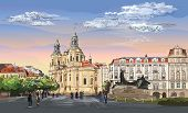 Colorful Vector Hand Drawing Illustration. Cityscape Of St. Nicholas Church And Jan Hus Memorial.  L poster