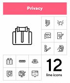 Privacy Line Icon Set. Judge Gavel, Censored Content, Camera. Privacy Concept. Can Be Used For Topic poster