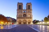 Notre Dame De Paris In The Night Light At Dawn. Paris. France. poster