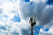 Telecommunication Tower Or Mast With Microwave, Radio Panel Antennas, Outdoor Remote Radio Units, Po poster