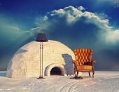 foto of igloo  - luxury armchair in winter landscape and igloo  - JPG