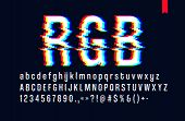 Modern Style Distorted Glitch Typeface, Mixing Red Green And Blue Channel Screen Defect, Uppercase A poster