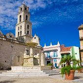 The San Francisco Square and the church with the same name in Old Havana , a touristic landmark famo